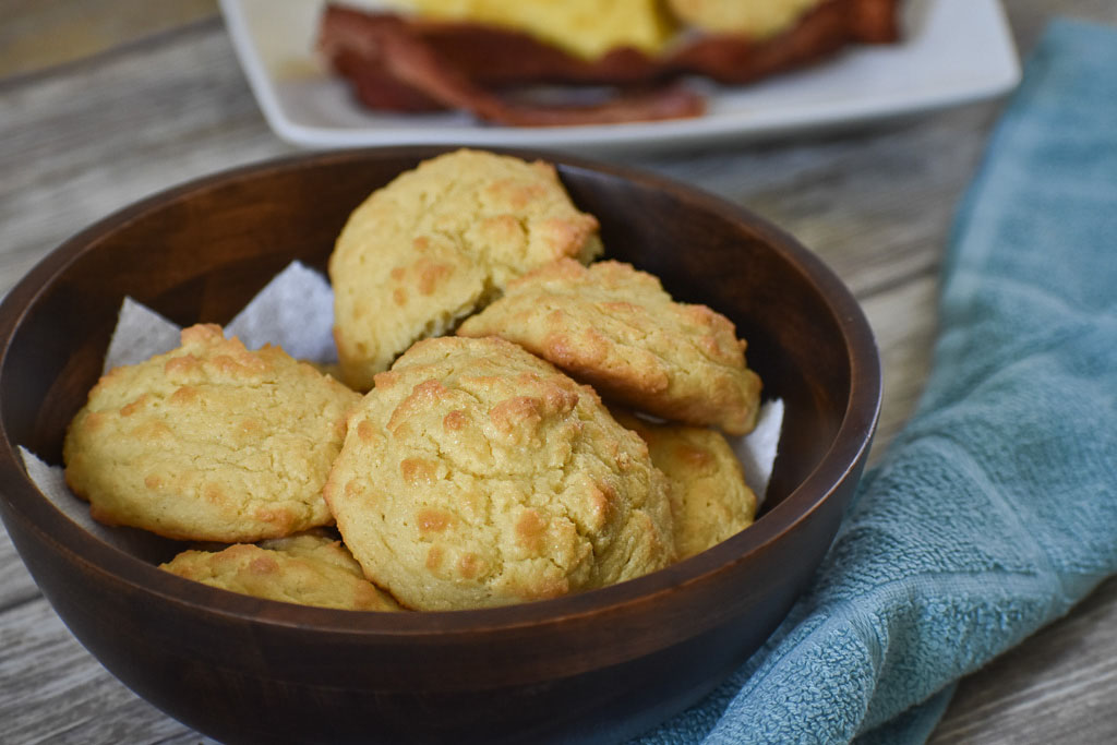low carb keto biscuits in a bowl