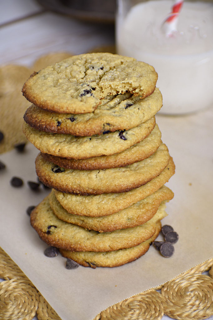 Low carb chewy chocolate chip cookies dairy free stacked