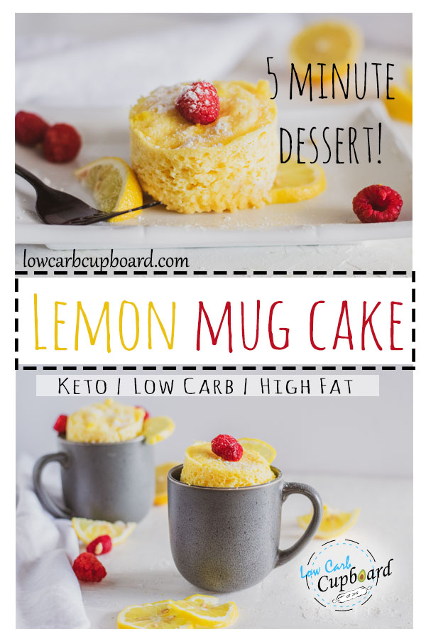 Easy 5 minute recipe! Low Carb Lemon Mug Cake! Perfect for the keto diet. Just a few simple ingredients to make this mug cake and you won't be disappointed #keto #mugcake