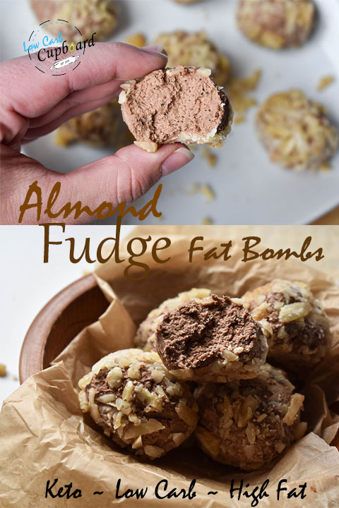 Creamy high fat low carb Almond Fudge Fat Bombs! Perfect for your keto diet. #keto #lowcarb #highfat #fatbombs