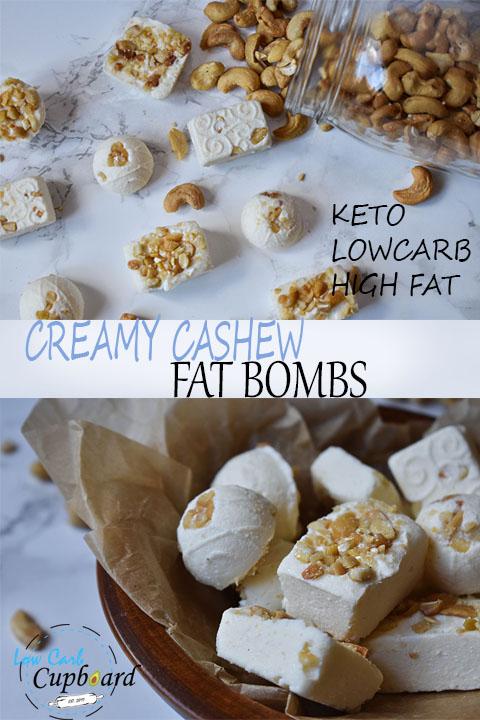 1 carb per fat bomb! High Fat Creamy Cashew keto fat bombs. #keto #lowcarb #highfat #fatbombs