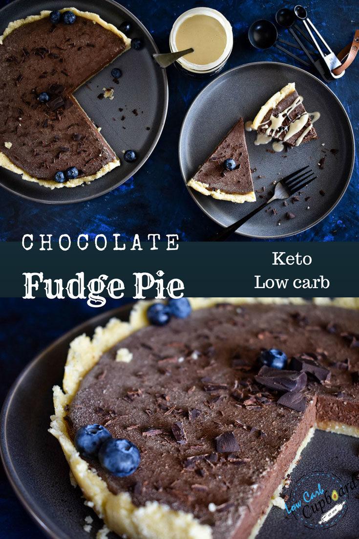 Low Carb Keto Chocolate Fudge Pie. Simple no bake