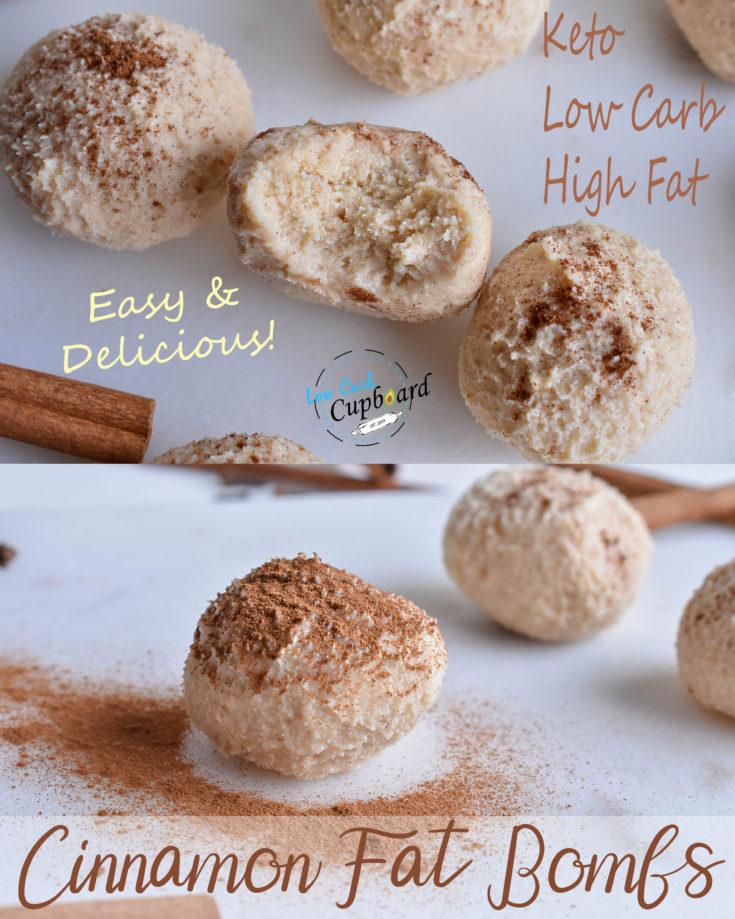 Keto Cinnamon Fat Bombs! Easy and delicious high fat snack or dessert #keto #lowcarb #highfat #fatbomb