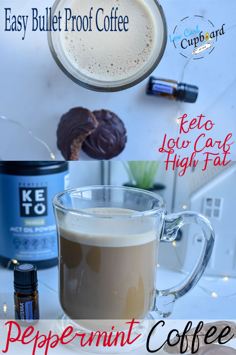 Easy Keto Peppermint Coffee. The perfect seasonal low carb bullet proof coffee. #peppermintcoffee #bulletproofcoffee #doterra #keto #lowcarb #highfat