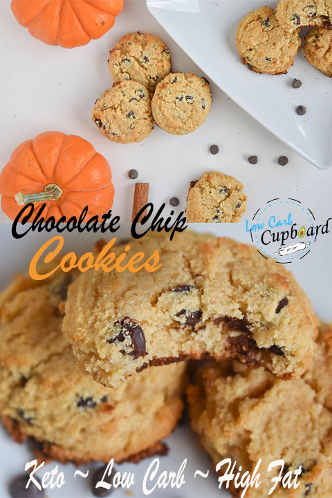 Delicious low carb keto Chocolate Chip Cookies! Chewy and Soft. #keto #lowcarb #highfat #chocolatechipcookies #ketocookies