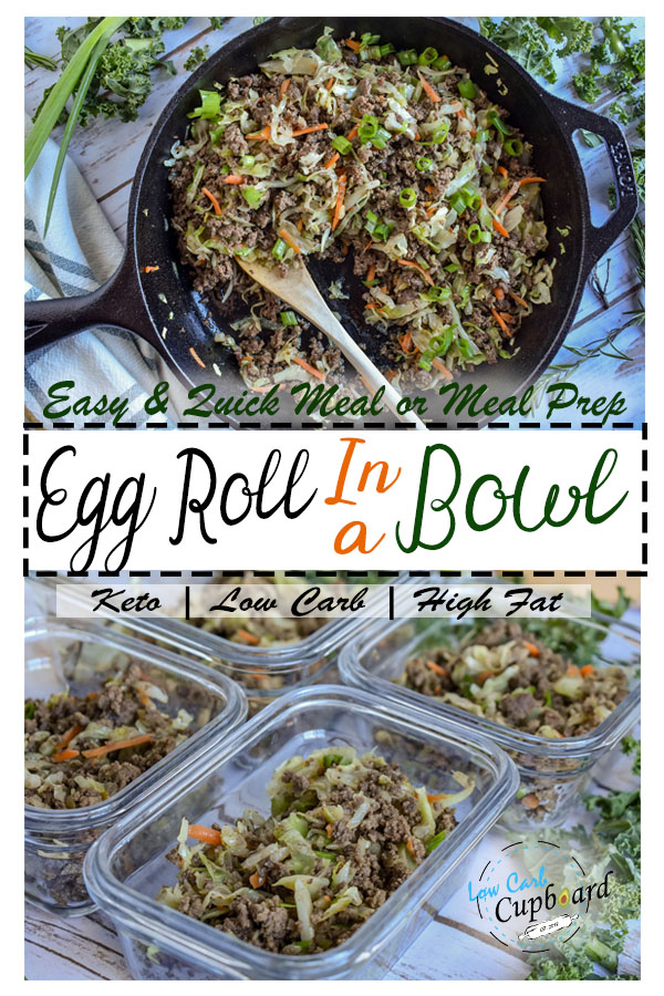 Great meal prep keto Egg Roll in a Bowl. The perfect low carb dinner. #ketomealprep #keto #lowcarb #ketogenic #highfat