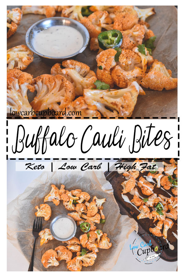 Easy and delicious Buffalo Cauliflower Bites. The perfect keto and low carb snack for the super bowl! #keto #lowcarb #superbowl #ketogenic #ketosnack