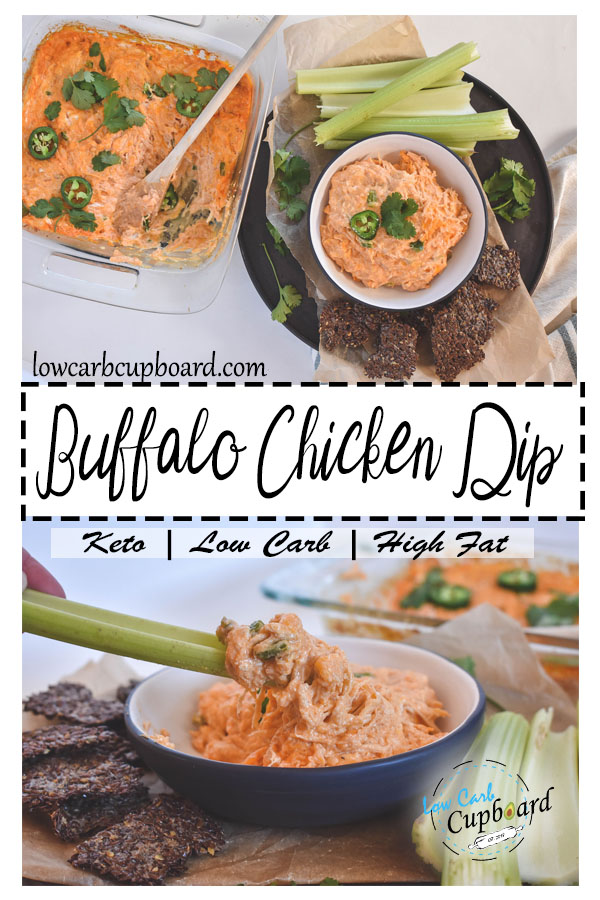 Easy and delicious keto buffalo chicken dip. The perfect low carb super bowl appetizer! #keto #ketogenic #lowcarb #superbowl