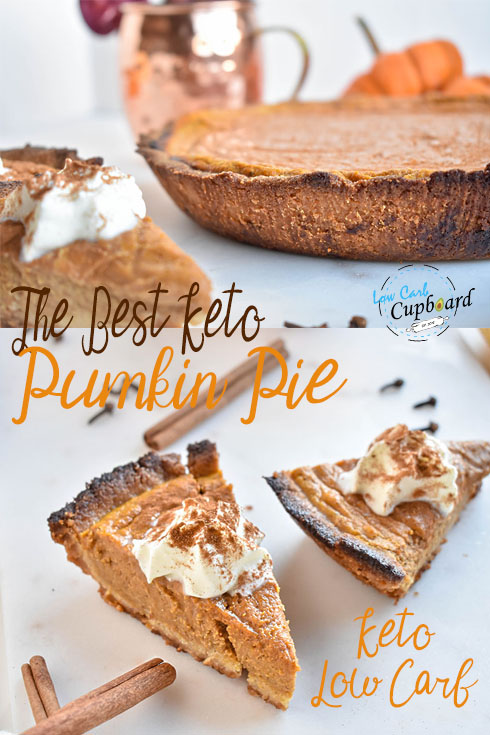 The best low carb Pumpkin Keto Pie! Perfect for Thanksgiving. #thanksgiving #keto #lowcarb #highfat