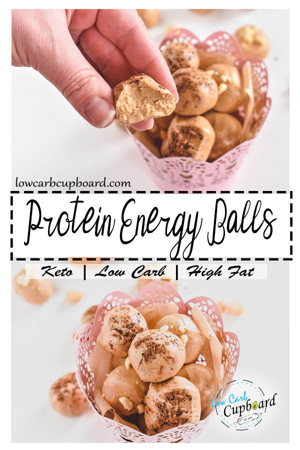 Easy and delicious low carb protein energy balls! Perfect for an easy keto snack. #keto #lowcarb #highfat