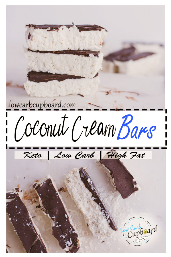 Low Carb Coconut Cream Bars. Perfect high healthy fat dessert for the keto diet. #keto #ketodessert