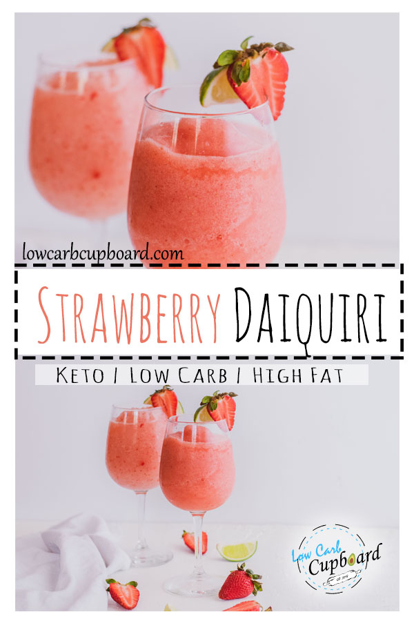 Low Carb Strawberry Daiquiri. The perfect keto diet alcoholic beverage. This recipe is delicious and only 2.1 net carbs! #keto #lowcarbdaiquiri