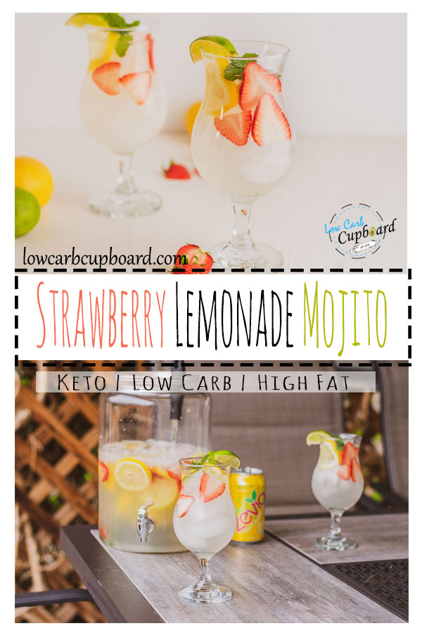 Easy low carb strawberry lemonade mojito. The perfect keto alcohol beverage for any occasion this summer. Refreshing keto diet drink #keto #ketomojito