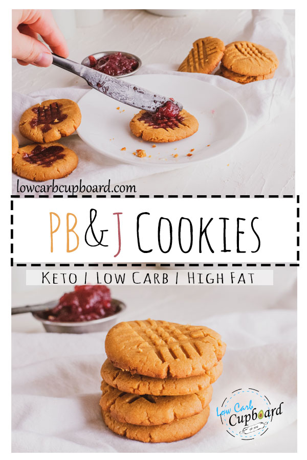 Easy and delicious low carb PB&J Cookies. These keto cookies are perfect for a keto diet. The kids are going to love these fun cookies #keto #ketocookies