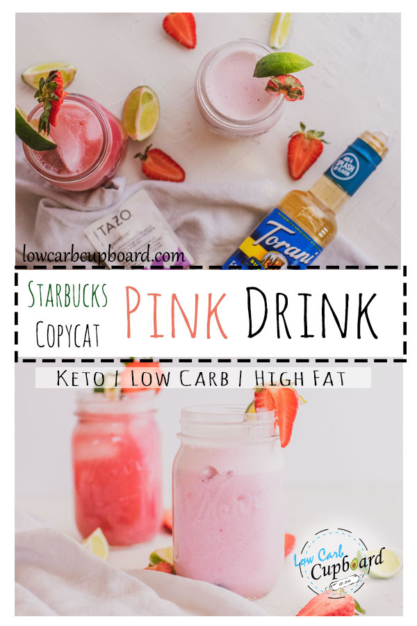 A delicious low carb Starbucks copy cat Pink Drink. Easy Keto Pink Drink recipe tastes just like if you got it made at the coffee shop. #keto #pinkdrink