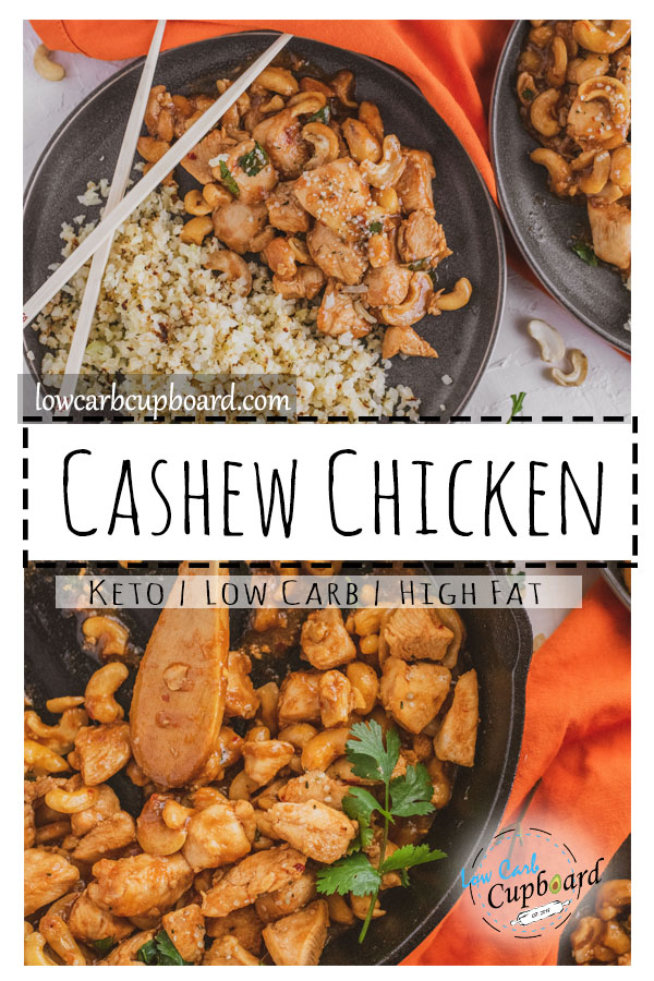 Easy low carb cashew chicken recipe to cook up for dinner! If you are a fan of asian dishes you are going to love this keto diet meal! #chickenrecipes #ketodietmeal