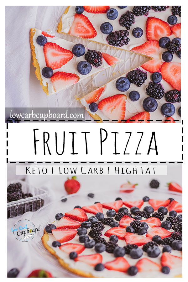 A traditional low carb fruit pizza! Sugar cookie crust with a cream cheese topping filled with berries. A keto fruit pizza recipe. #ketodessert #fruitpizza #ketodessertrecipes
