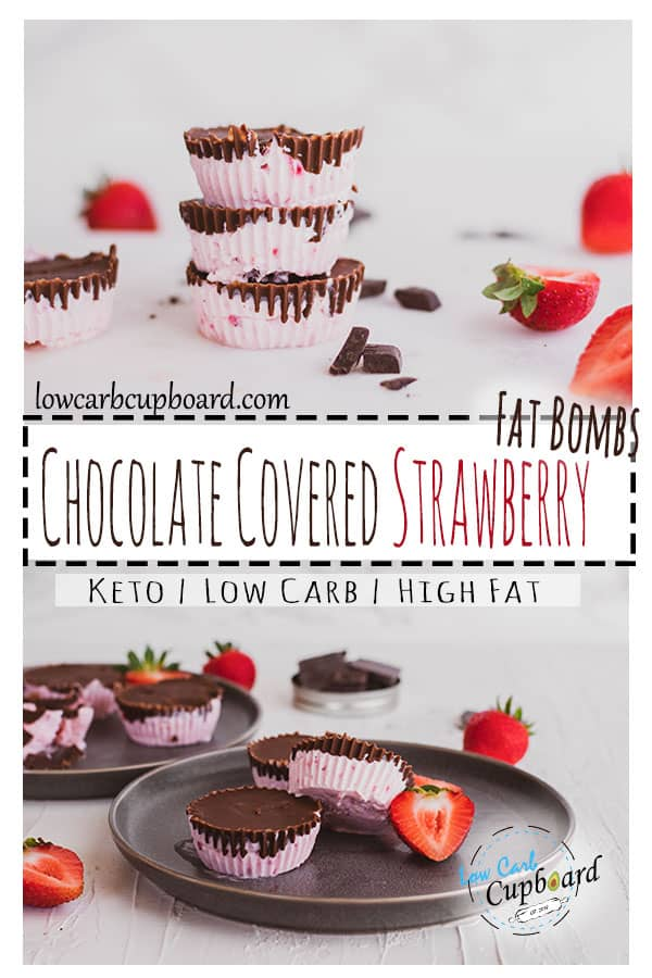 Easy keto Chocolate Covered Strawberry Fat Bombs. Easy to make low carb fat bombs. Creamy and delicious fat bombs recipes. #keto #fatbombs
