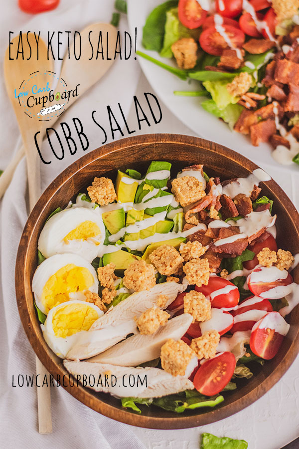 Easy to make keto diet Cobb Salad. Low carb and high fat cobb salad recipe. Delicious ingredients all in one meal that you will love!  #cobbsalad #ketosalad