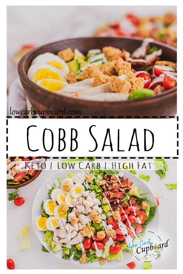 Easy to make keto diet Cobb Salad. Low carb and high fat cobb salad recipe. Delicious ingredients all in one meal #cobbsalad #ketosalad