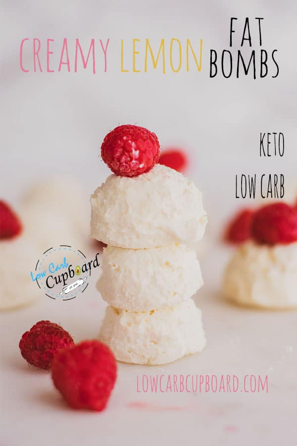 Low carb creamy lemon fat bombs recipe. The perfect keto diet fat bomb snack.  If you are craving something light and creamy you will love these. #ketofatbombs #fatbombs