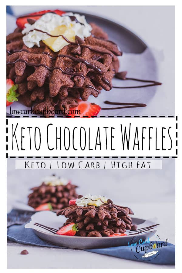These easy and low carb keto chocolate waffles are a delicious dessert. The perfect low carb dessert on a ketogenic diet. #ketowaffles #ketodessert