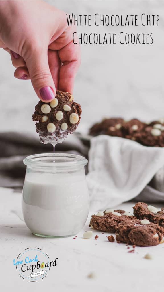 An easy, keto white chocolate chip chocolate cookie recipe.  These low carb cookies are soft, chewy and taste amazing. Keto friendly cookie recipe! #ketocookies #chocolatecookies #sugarfreecookies
