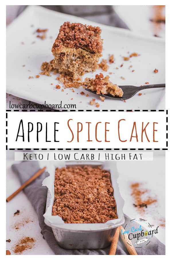 Low carb Apple Spice Cake that is easy to make and delicious. This keto cake recipe is perfect for the holiday season. The perfect fall cake recipe. #ketocake #applespicecake #lowcarbcake