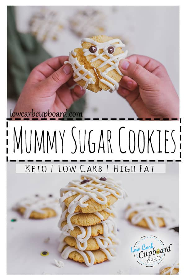 Low carb Mummy Sugar Cookies recipe. These keto cookies are delicious and are perfect for Halloween. The kids will loves this keto cookie recipe. #ketocookies #sugarcookies #cookierecipe