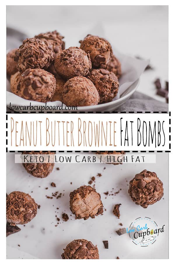 Keto Peanut Butter Brownie Fat Bombs are easy and delicious. Low carb fat bombs are a great snack to satisfy your sweet cravings. #ketofatbombs #fatbombs #chocolatefatbombs