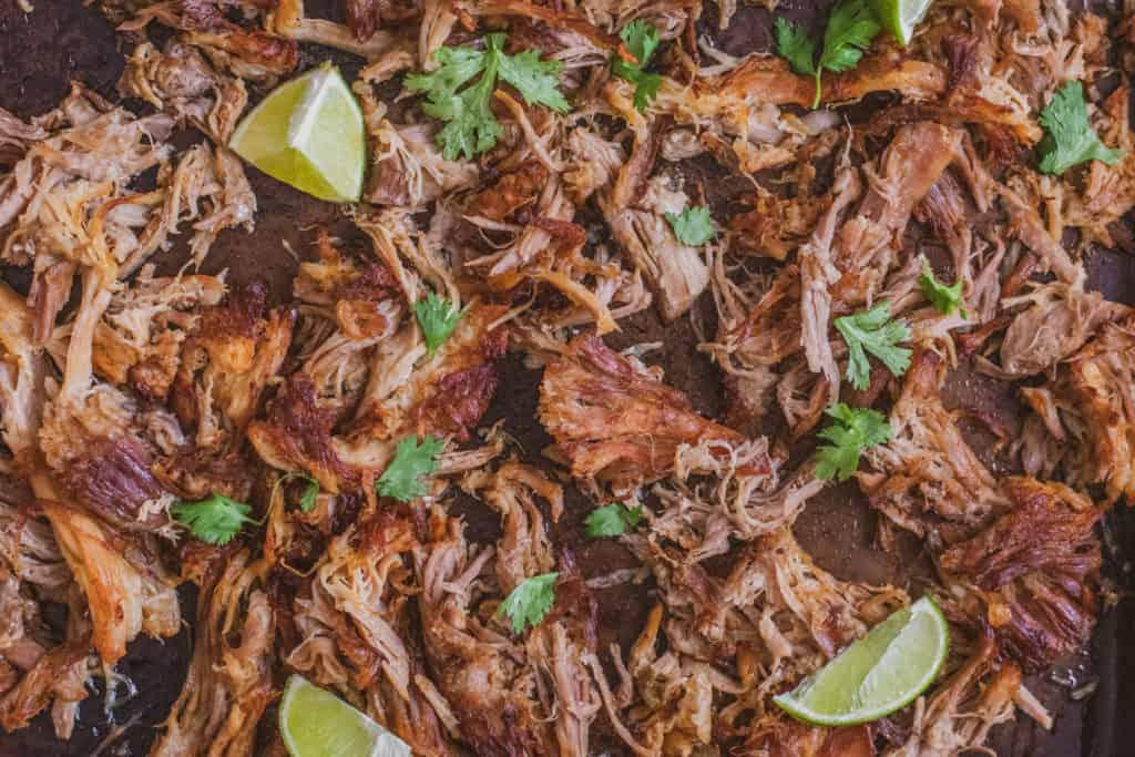 Low carb keto Instant pot pork carnitas on a sheet pan