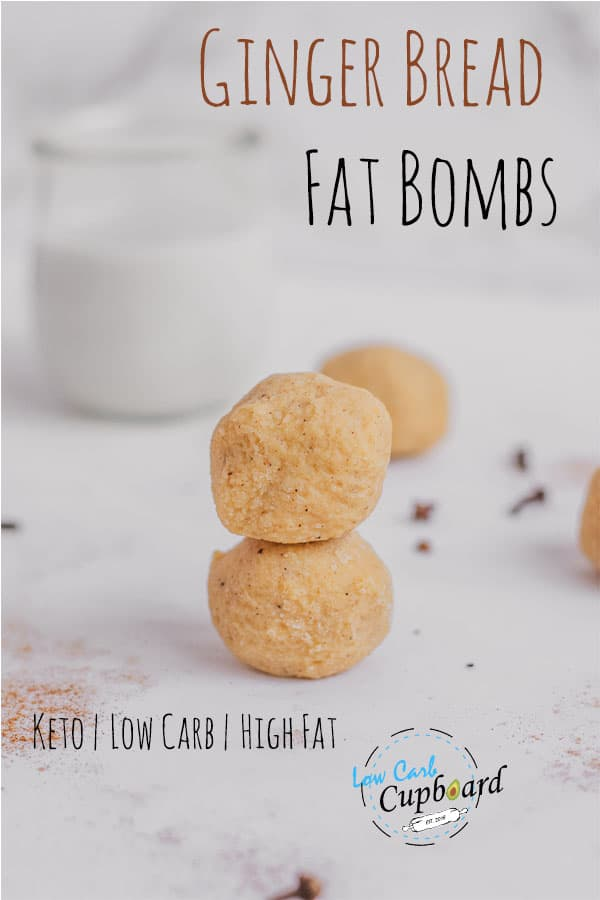 Low carb and keto ginger bread fat bombs recipe. The taste of these are perfect for the holidays. An easy keto snack or dessert. #ketofatbomb #gingerbreadrecipe