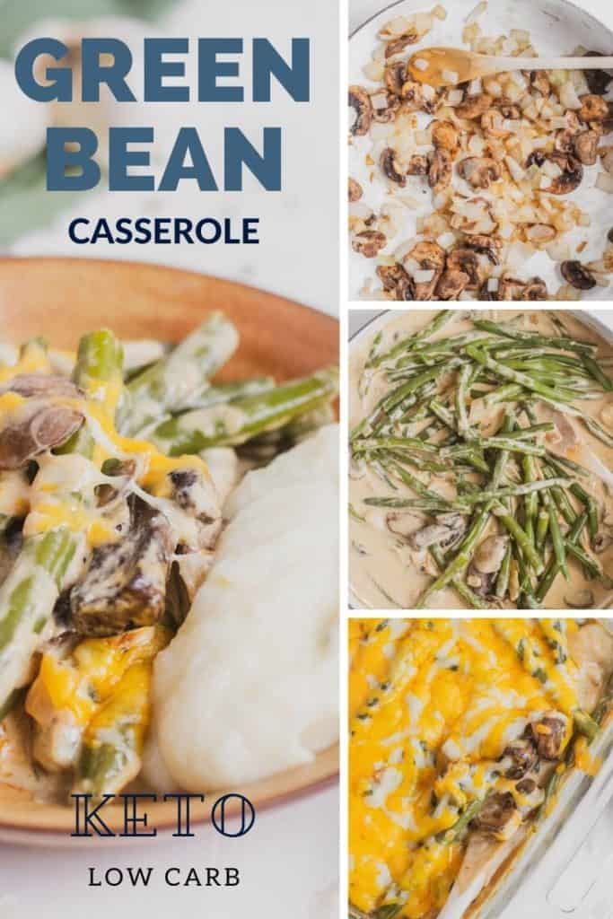 Easy to make Keto Green Bean Casserole holiday side dish. This low carb green bean casserole is creamy and full of flavor. #ketogreenbeancasserole #greenbeancasserole