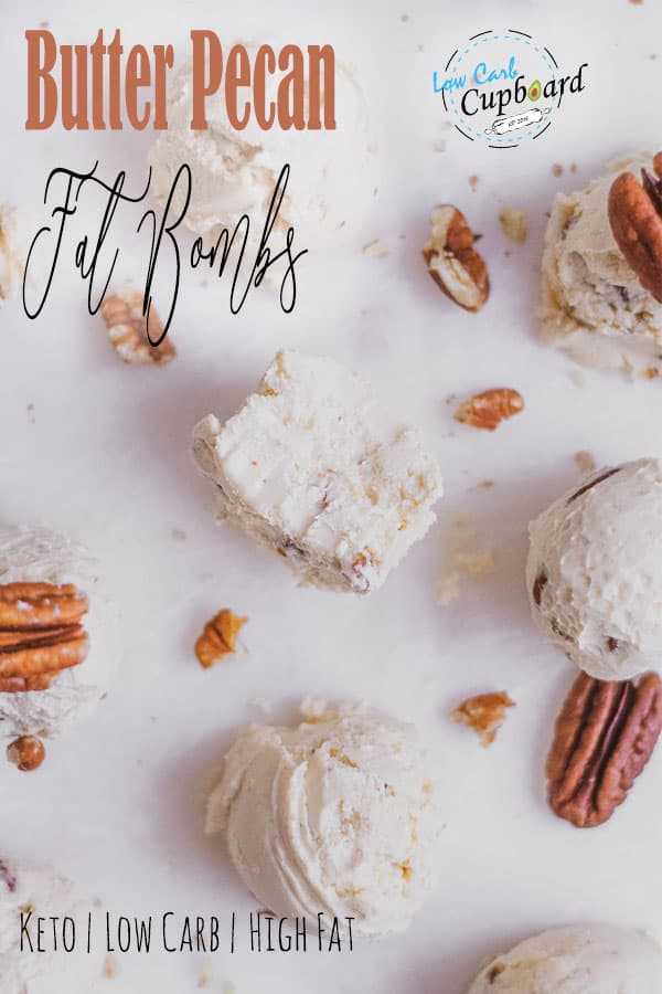 Easy and delicious Butter Pecan Fat Bombs recipe. Keto fat bombs are the perfect little treats you can make on the keto diet. #ketofatbombs #butterpecanfatbombs