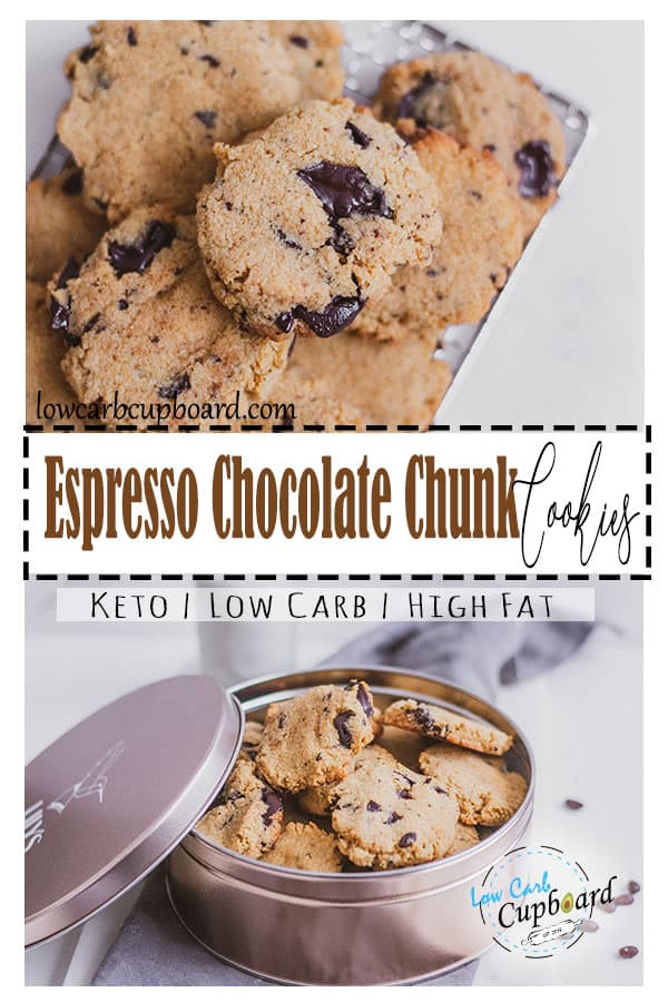 Easy to make keto espresso chocolate chunk cookies recipe is delicious. This recipe is low carb and the perfect keto dessert. #ketocookies #chocolatechunkcookies