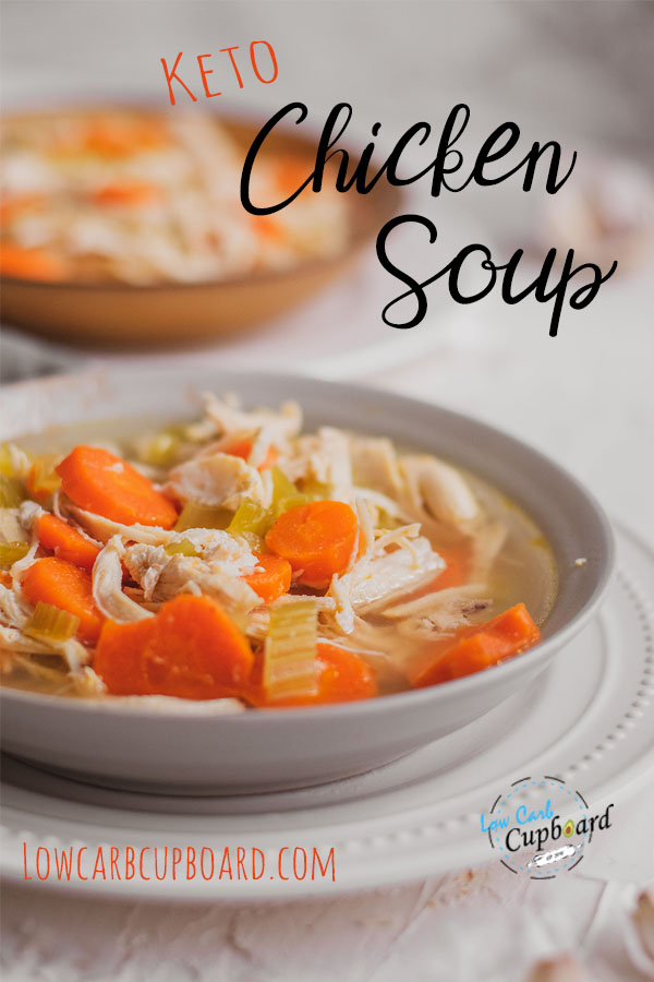Low carb keto chicken soup made with bone broth. Easy and simple meal and perfect for meal prepping for the week or freezing for later #ketochickensoup #bonebrothsoup