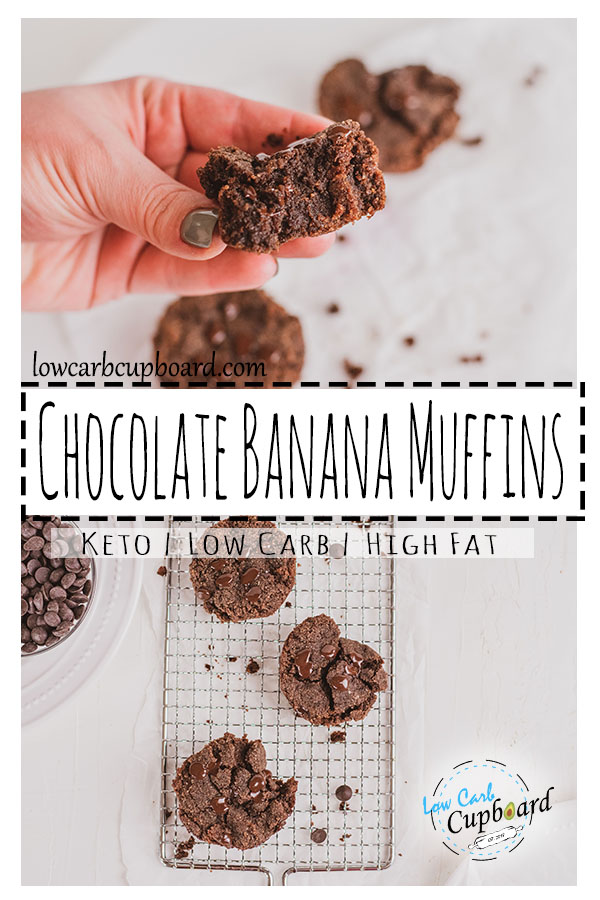 A delicious moist and fudgy Chocolate Banana Muffin keto recipe. Double chocolate chip keto dessert recipe that is low carb and easy to make.  #ketomuffins #chocolatebananamuffins