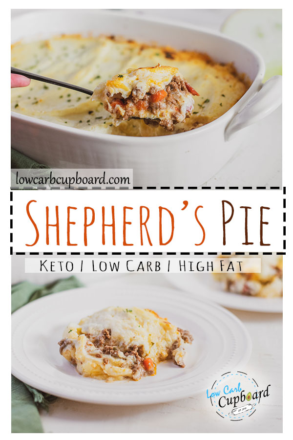 Keto Shepherd's Pie with a ground beef and vegetable layer topped with a creamy cauliflower mash. Easy to make low carb recipe. #keto #ketoshepherdspie
