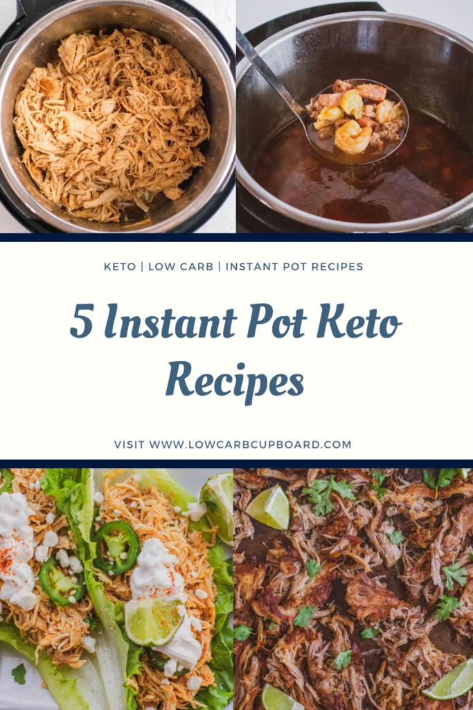 Here is a round up of my favorite 5 Instant Pot Keto Meals. Easy and simple low carb recipes that cook up fast in a pressure cooker. #Instantpotketomeal #instantpotrecipes