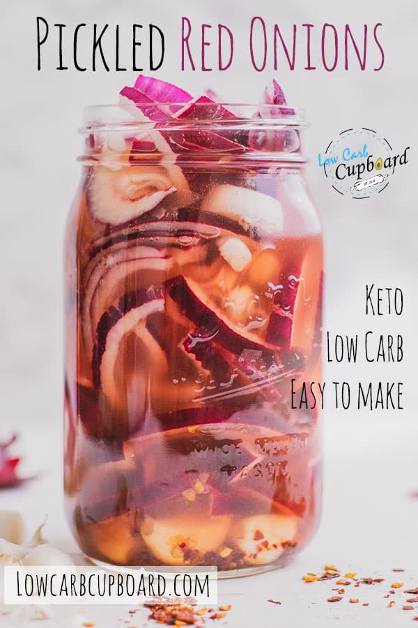An easy to make low carb Pickled Red Onions recipe. A tasty keto side recipe you can add to your salads, burgers, and many other meals. #ketopickledredonions #pickledredonions
