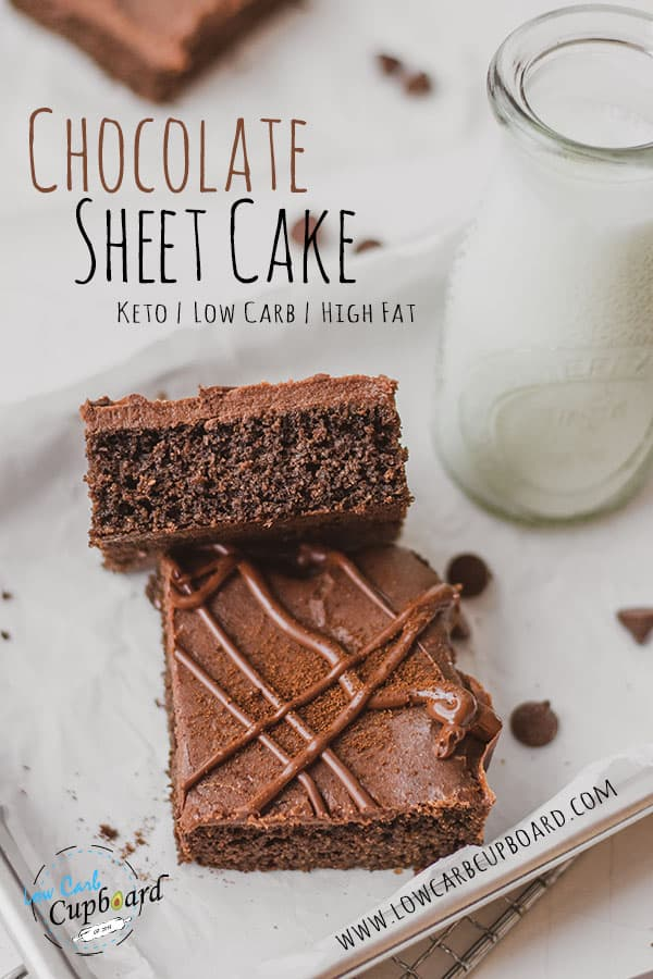 This low carb Chocolate Sheet Cake is fudgy and delicious!  Easy to make keto chocolate cake recipe that is a lot like Texas Sheet Cake. #ketocakerecipe #chocolatesheetcake
