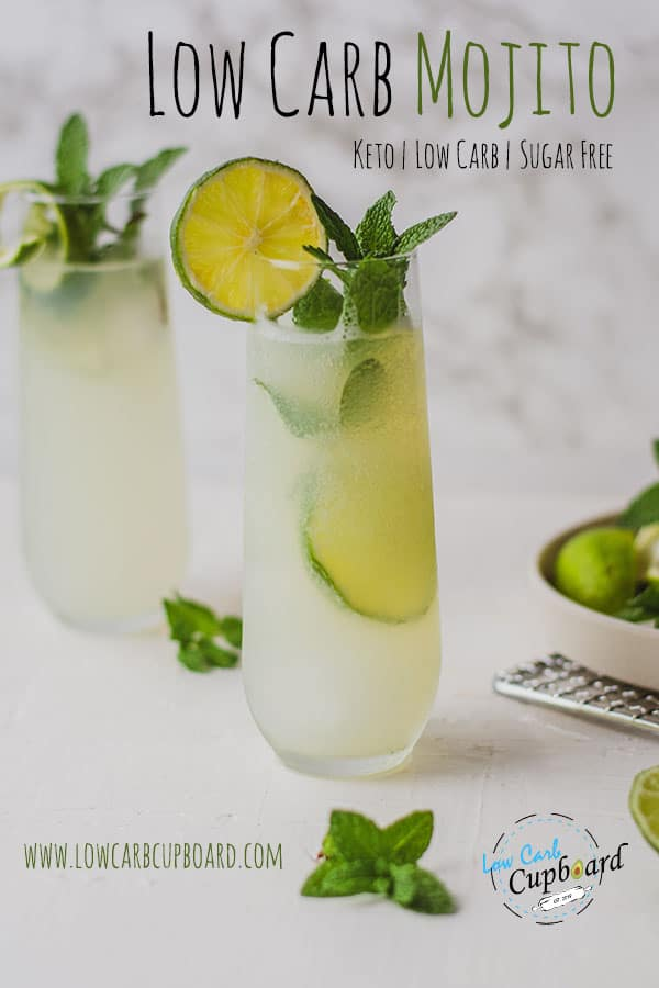 Easy to make and delicious low carb mojito cocktail recipe. A light and refreshing sugar free keto cocktail made with a bubbly water and white rum. #ketococktail #lowcarbmojito