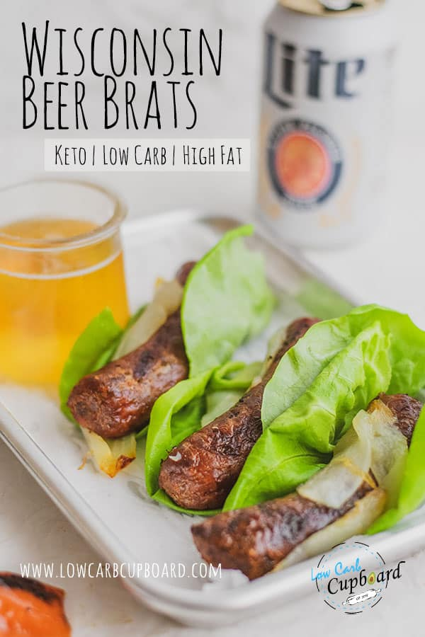 The perfect summer grilling keto recipe! These Wisconsin Beer Brats are juicy and crispy and so easy to make. Time to fire up the grill for low carb brats! #wisconsinbeerbrats #ketobrats