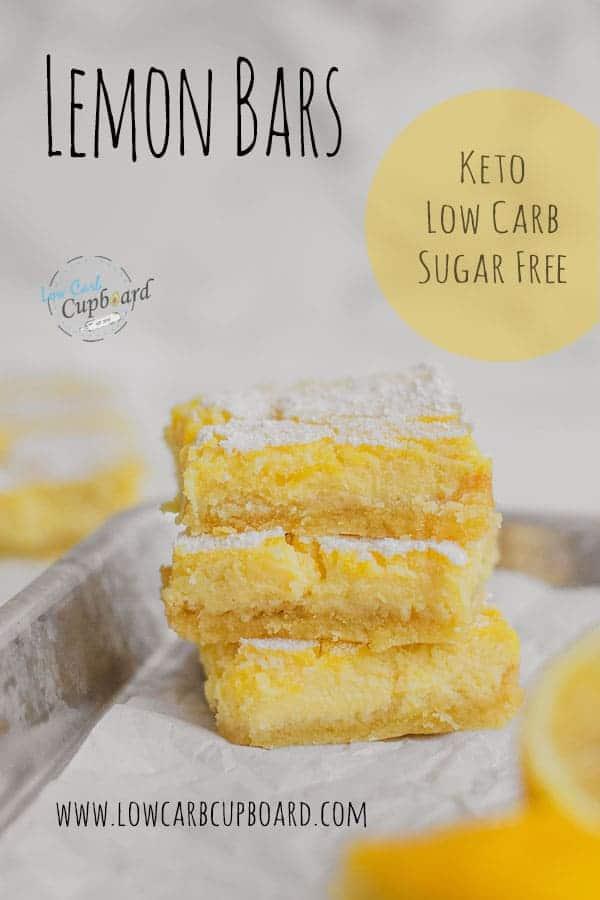 An easy to make low carb Lemon Bars dessert recipe. These keto lemon bars are moist and delicious and full of flavor! #ketodessert #ketolemonbars