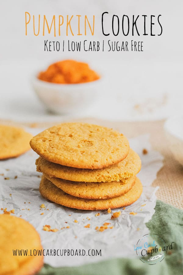 Easy to make delicious low carb Pumpkin Cookies recipe. This sugar free keto cookie recipe is delicious and perfect for the fall. #ketocookies #ketopumpkincookies