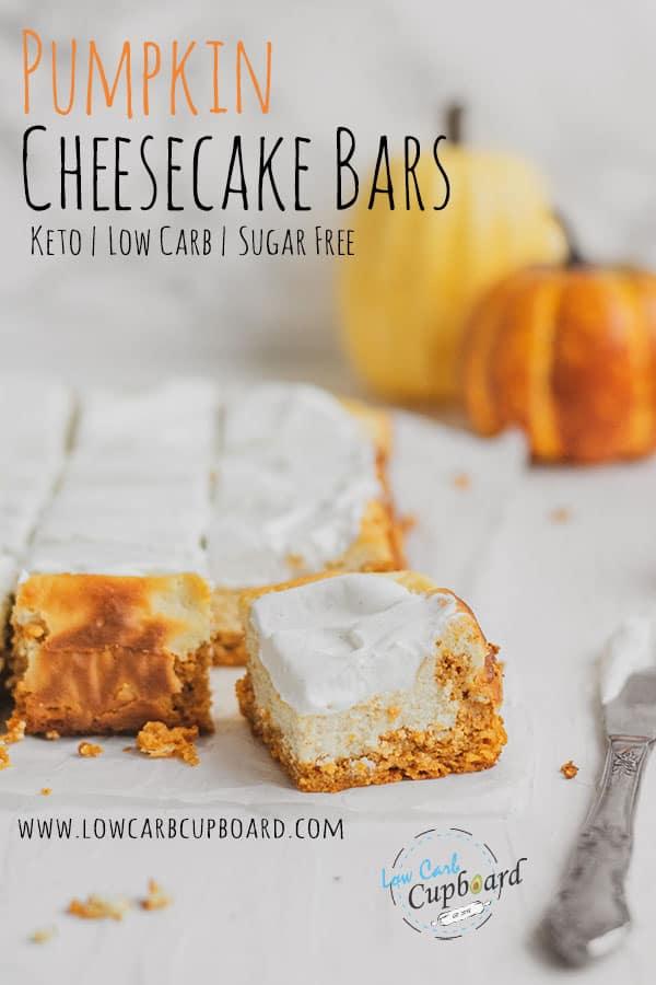 Delicious and easy to make keto Pumpkin Cheesecake Bars recipe. Sugar free and low carb pumpkin dessert recipe. #ketodessert #pumpkincheesecakebars