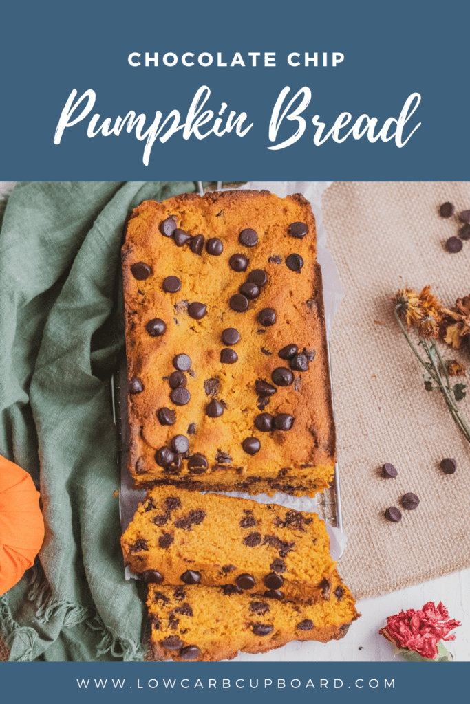 Easy to make keto Chocolate Chip Pumpkin Bread! This moist and delicious low carb pumpkin bread recipe is full of flavor and sugar free. #ketopumpkinbread #chocolatechippumpkinbread