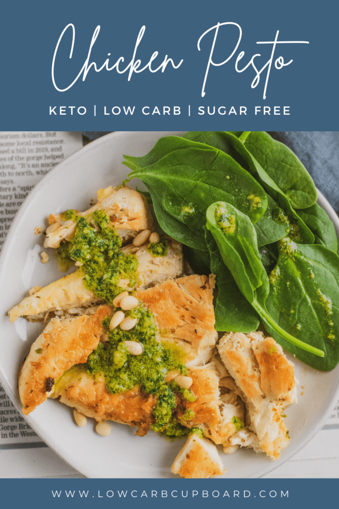 Easy to make keto Chicken Pesto recipe. This recipe is served with a delicious low carb pesto that is full of healthy fats. #ketochickenpesto #chickenpesto