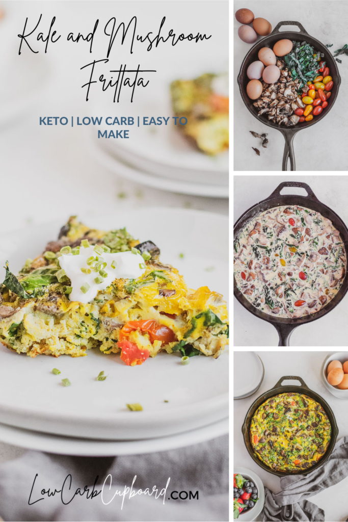 Easy to make keto Kale and Mushroom Frittata recipe. Low carb breakfast recipe is perfect for meal prep or breakfast recipe. #ketofrittata #lowcarbfrittata
