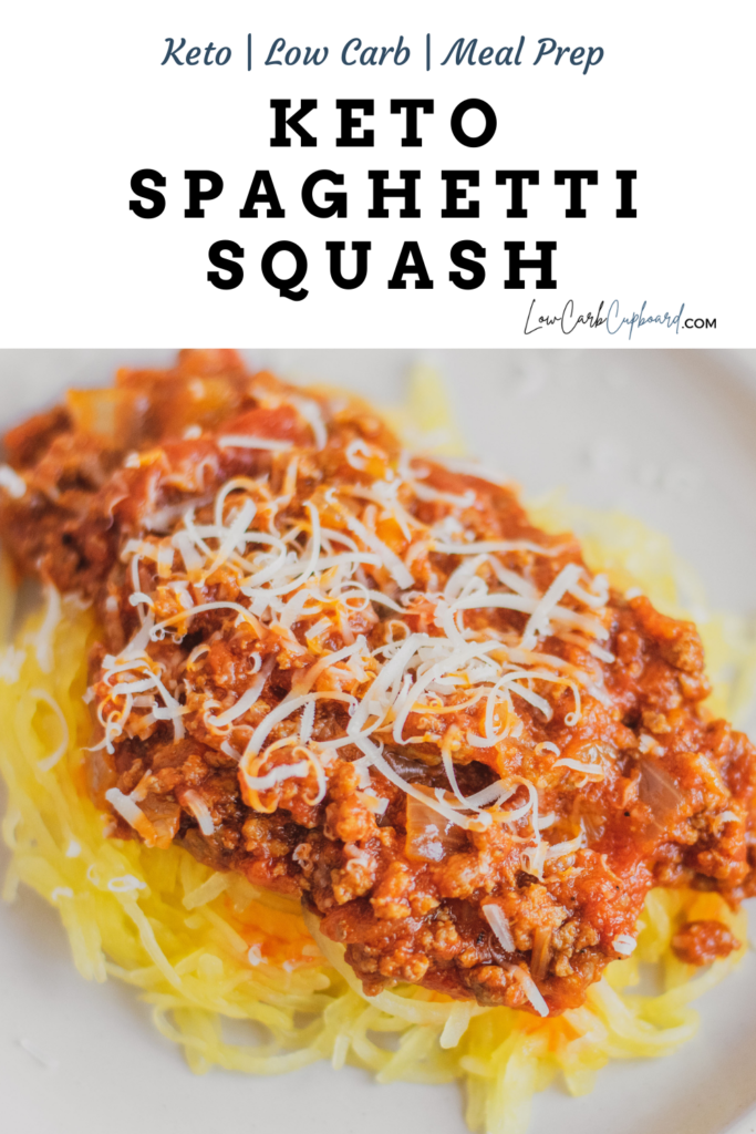 Easy to make Keto Spaghetti Squash recipe which is great for an easy delicious keto dinner or keto and low carb meal prep recipe. #ketospaghettisquash #ketomealprep